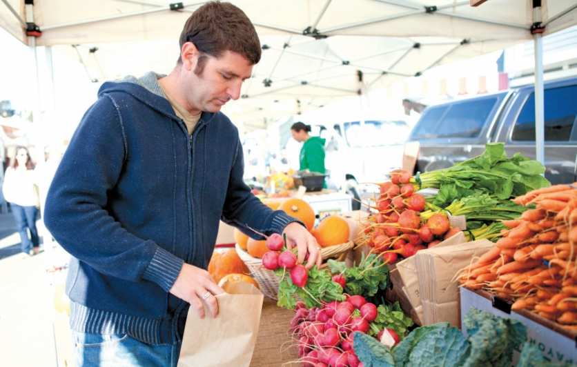 Chef Dan Baker at Saturday Marin Country Mart farmers' market in Larkspur
