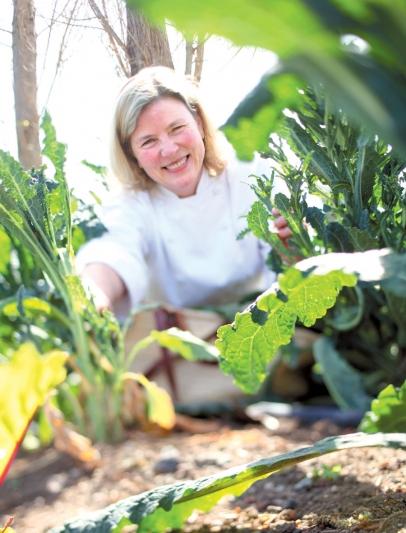 Chef Sarah Scott in her kitchen garden in Napa