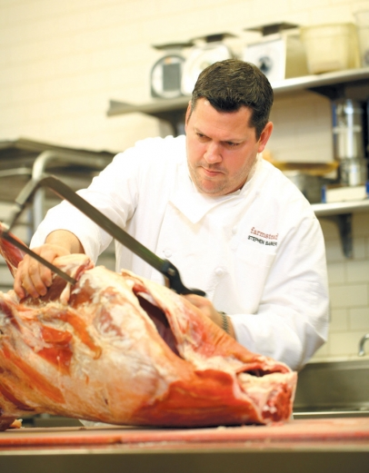 Chef Stephen Barber at Farmstead at Long Meadow Ranch in St. Helena, butchering meat