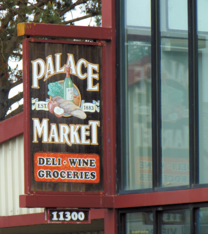 The Palace Market sign