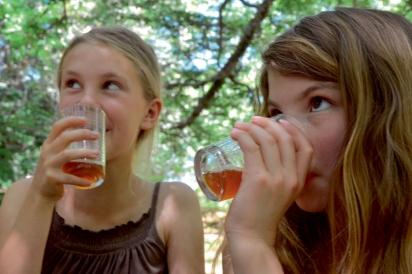 Siena and Lillian Enjoy Pressed Juice