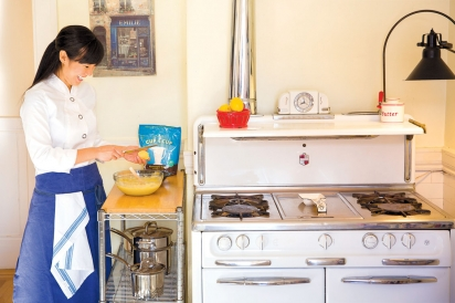 Lena Kwak in the kitchen