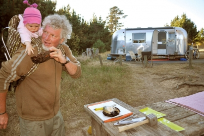 Gerard Nebesky and daughter at Sonoma County's Doran Beach campground