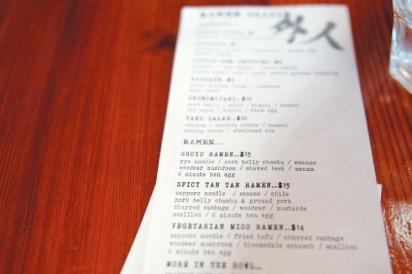 The menu at Ramen Gaijin