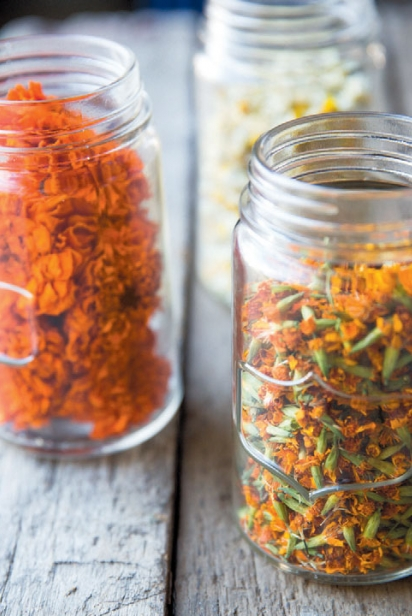 Dried edible flowers in jars