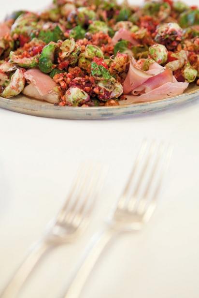 Trevor Kunk's Brussels sprouts, blood orange and ham appetizer