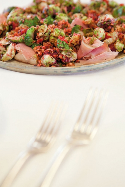 Trevor Kunk's Brussels sprouts, blood orange and ham appetizer