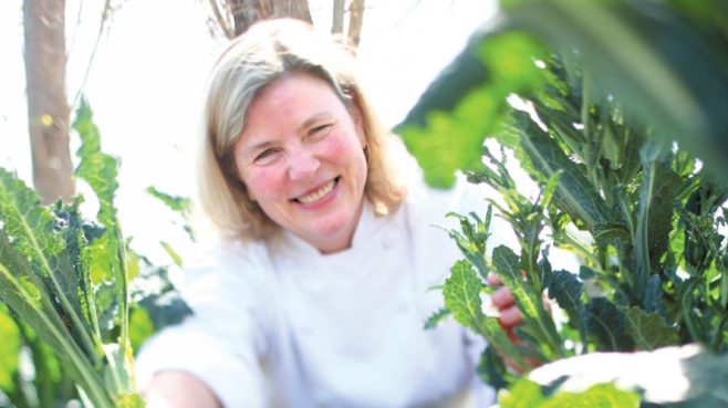 Chef Sarah Scott in her kitchen garden in Napa