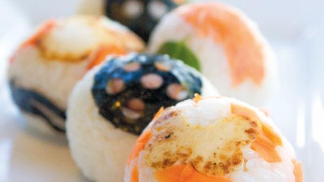 Hand ball sushi with variety of toppings