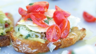 Eggplant and Cherry Tomato Bruschette
