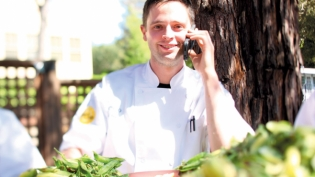 Chef Jared Rogers with English peas