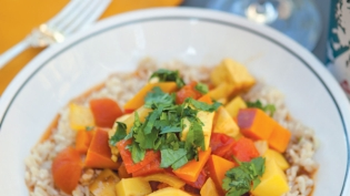 Winter Squash and Potato Curry Over Brown Rice