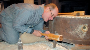 Rob Grassi dressing mill stones at Napa's Bale Grist Mill
